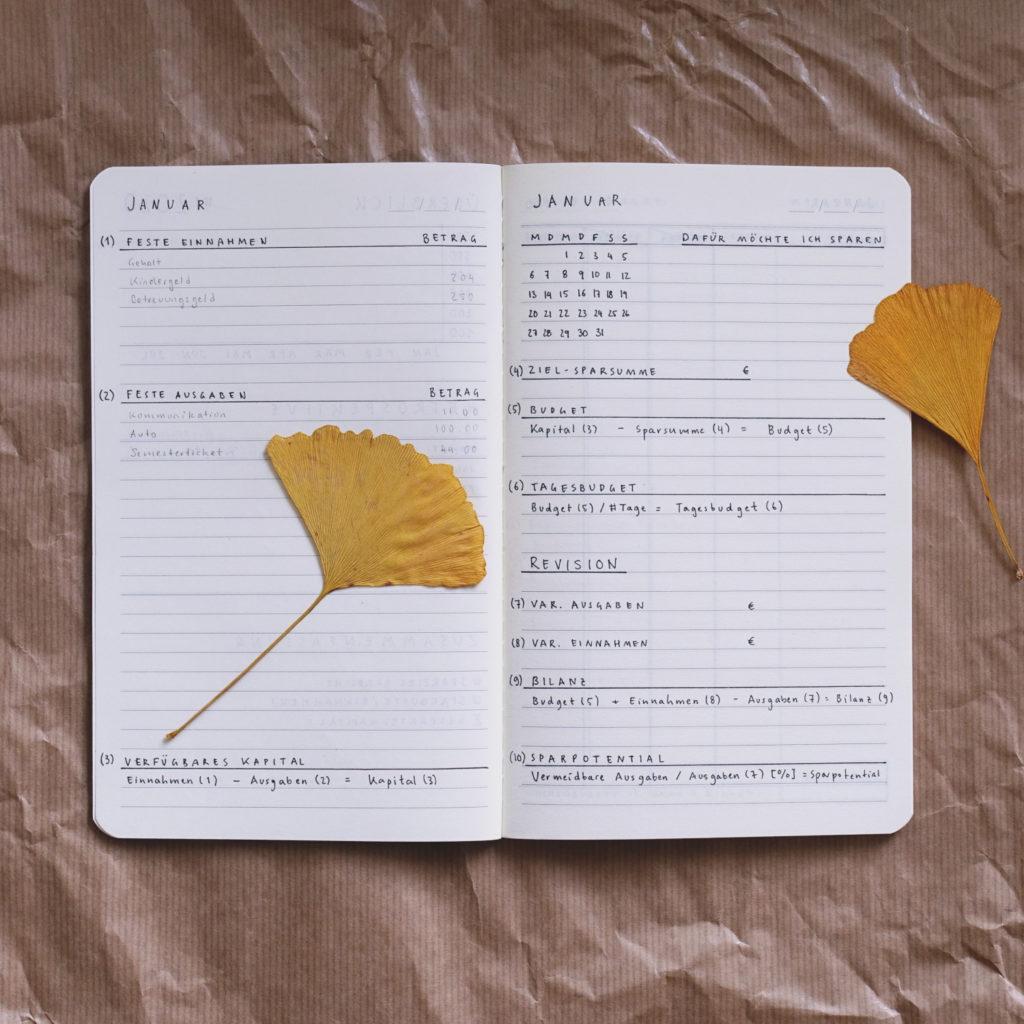 Kakebo Haushaltsbuch selbst gestaltet: Monatsübersicht über die Ausgaben und Einnahmen