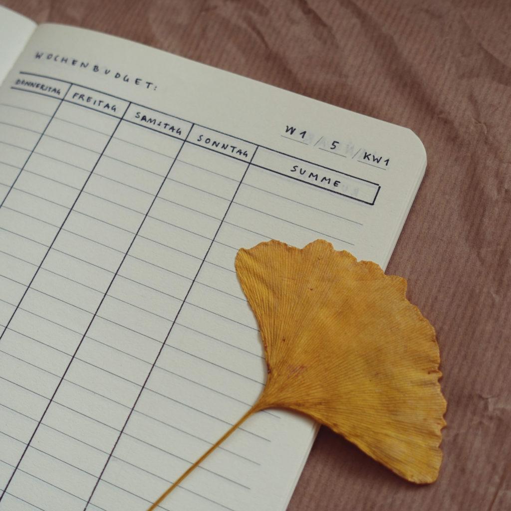 Kakebo Haushaltsbuch selbst gestaltet, Wochenansicht Detail